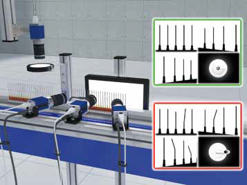 Photo of M-Series vision processor in use for hypodermic needle inspection