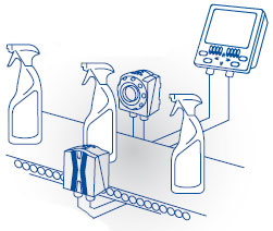 Illustration of DataVS2 in use on spray bottle conveyor belt